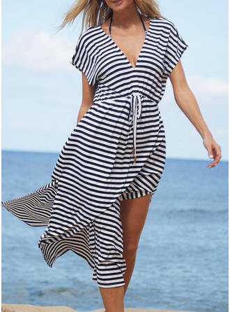 Stripe V-Neck Casual Cover-ups Swimsuits