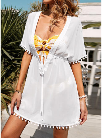 Solid Color Drawstring V-Neck Sexy Cover-ups Swimsuits