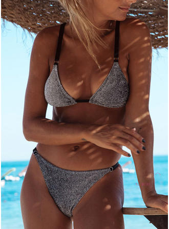 Solid Color Triangle Low Waist Strap Sexy Fashionable Bikinis Swimsuits