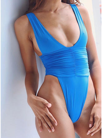 Solid Color High Leg Strap Sexy One-piece Swimsuits