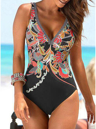 Floral Print Strap V-Neck Sexy One-piece Swimsuits