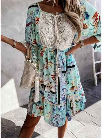Print Drawstring High Neck Bohemian Classic Cover-ups Swimsuits
