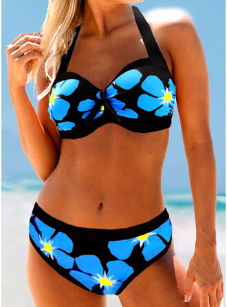 Floral Print Halter Sexy Bikinis Swimsuits