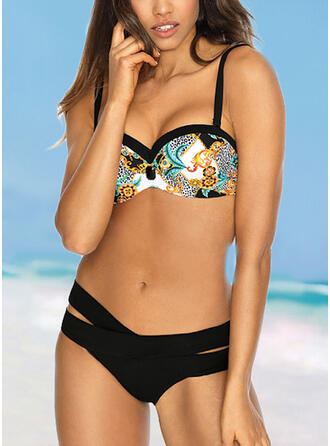 Print Push Up Strap Sexy Boho Bikinis Swimsuits