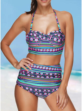 High Waist Print Geometric Halter Sexy Boho Bikinis Swimsuits