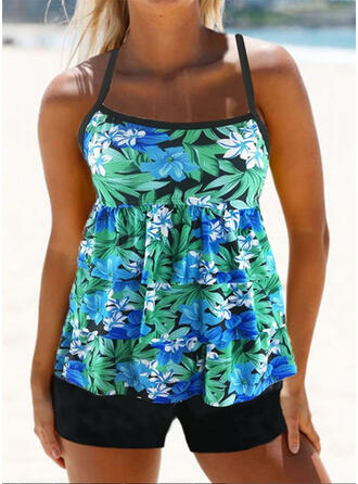 Floral Print Strap U-Neck Vintage Fresh Tankinis Swimsuits