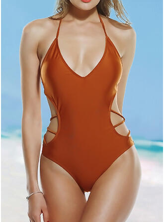 Solid Color String Halter Sexy One-piece Swimsuits