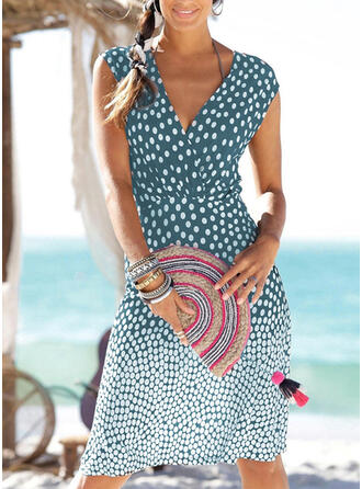 Dot V-Neck Elegant Swimdresses Swimsuits
