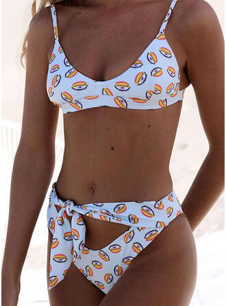 Dot Print Knotted U-Neck Sexy Elegant Tankinis Swimsuits
