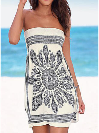 Floral Print Off the Shoulder Bohemian Cover-ups Swimsuits