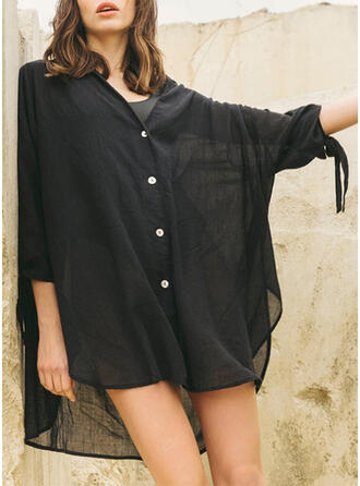 Solid Color Blouson V-Neck Sexy Casual Cover-ups Swimsuits