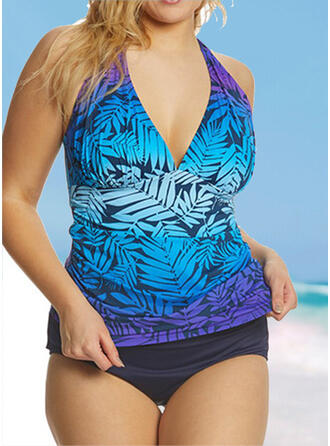 Tropical Print Backless Lace Up Gradient V-Neck Strapless Sports Plus Size Casual Tankinis Swimsuits