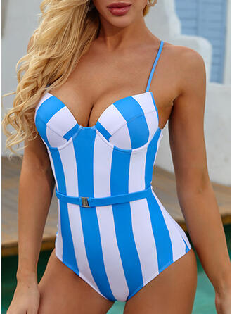 Stripe Print Strap Sexy Vintage One-piece Swimsuits