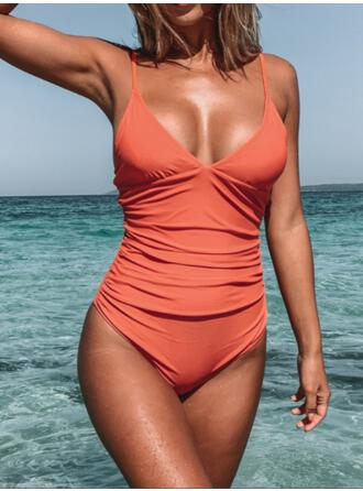Solid Color Strap V-Neck Vintage Fresh One-piece Swimsuits