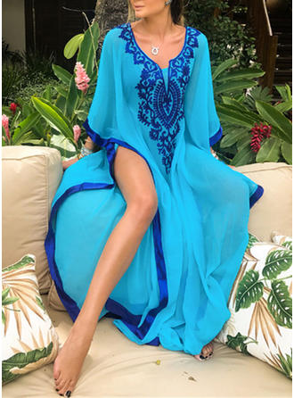 Tropical Print Neon V-Neck Sexy Cover-ups Swimsuits