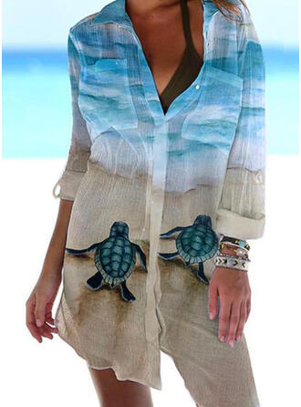 Animal Print V-Neck Casual Novelty Cover-ups Swimsuits