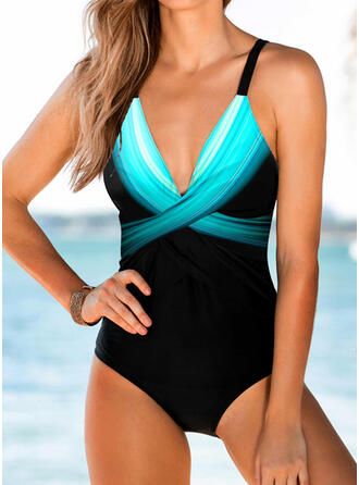 Cross Gradient V-Neck Sexy One-piece Swimsuits