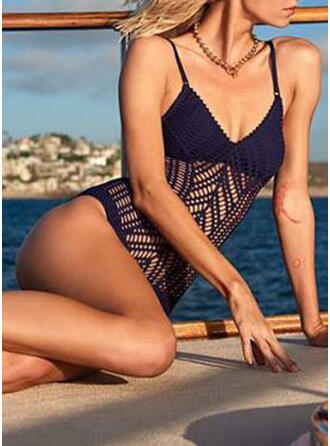 Hollow Out Mesh Strap V-Neck Sexy Exquisite One-piece Swimsuits