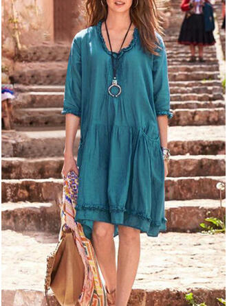 Solid Color Sarong Front Round Neck Plus Size Cover-ups Swimsuits