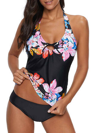 Floral Print Halter Sexy Tankinis Swimsuits