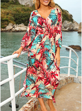 Colorful Tropical Print V-Neck Elegant Fashionable Bohemian Cover-ups Swimsuits