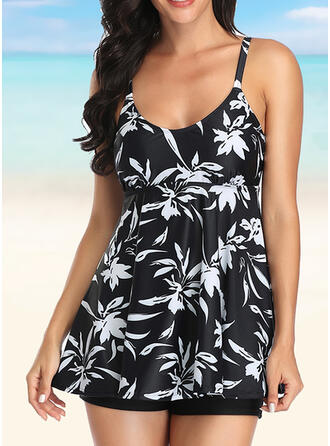 Floral Solid Color Leaves Print U-Neck Fashionable Beautiful Tankinis Swimsuits