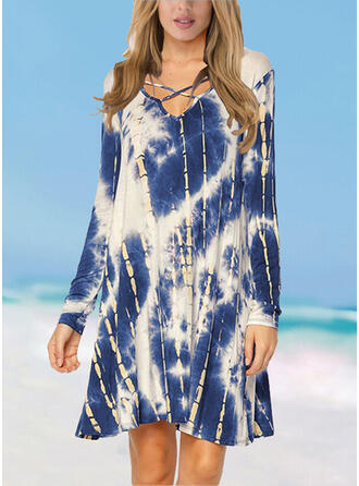 Splice color Cross Gradient V-Neck Elegant Plus Size Casual Cover-ups Swimsuits