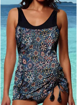 Floral Print Strap Round Neck Vintage Plus Size Casual Tankinis Swimsuits