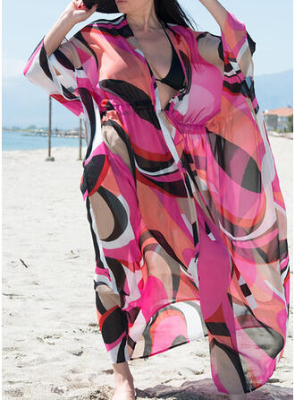 Print V-Neck Casual Cover-ups Swimsuits