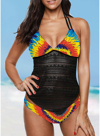 Colorful Patchwork Halter V-Neck Attractive Casual Tankinis Swimsuits