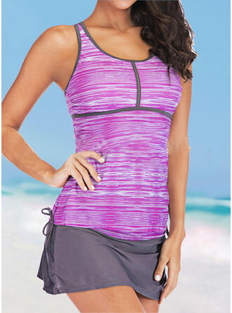 Stripe Knotted Strap U-Neck Sports Plus Size Casual Tankinis Swimsuits