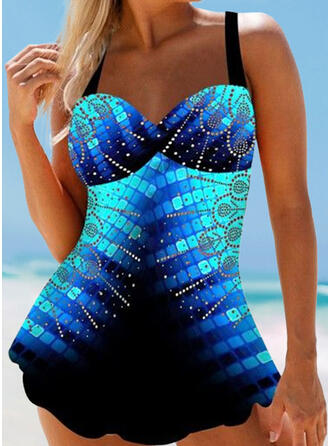 Print Strap Fresh Plus Size Boho Swimdresses Swimsuits