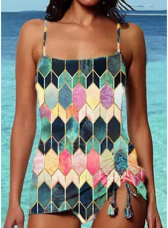 Color Block Strap Vintage Casual Tankinis Swimsuits