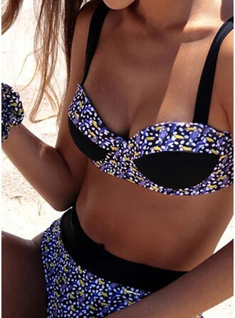Floral Dot Leaves High Cut Strap Classic Cute Tankinis Swimsuits