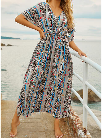 Print V-Neck Beautiful Attractive Eye-catching Cover-ups Swimsuits