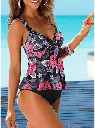 Floral Print Strap Bohemian Tankinis Swimsuits