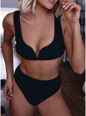Solid Color V-Neck Casual Bikinis Swimsuits