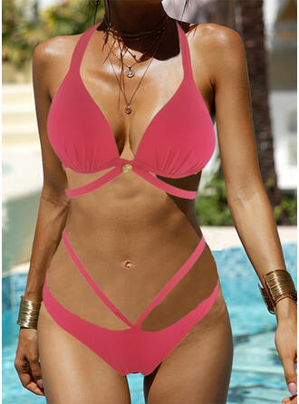 Solid Color Round Neck Amazing Exquisite Novelty Luxury Bikinis Swimsuits