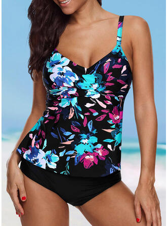 Floral Print Strap V-Neck Vintage Plus Size Tankinis Swimsuits