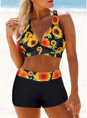 Floral Print Halter Sexy Fresh Bikinis Swimsuits