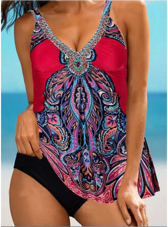Floral Print Strap V-Neck Sexy Vintage Boho Tankinis Swimsuits