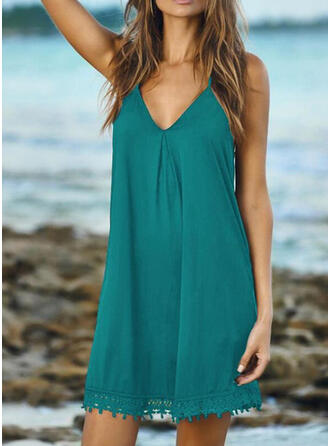 Solid Color Tassels Strap V-Neck Casual Cover-ups Swimsuits