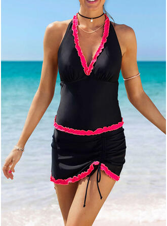 Solid Color String Halter V-Neck Classic Tankinis Swimsuits