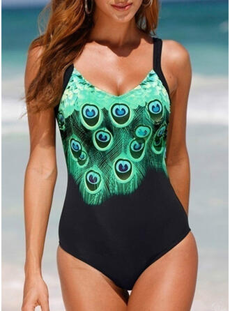 Print Animal Print Strap V-Neck Vintage Plus Size One-piece Swimsuits